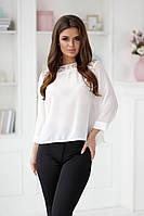 Элегантная белая женская блузка с кружевом на спине 42,44,46р., фото 1