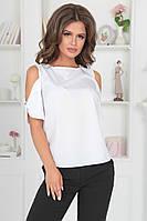 Элегантная белая женская блузка без рукав с открытыми плечами42,44,46р., фото 1
