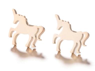 Нові метал сережки сережки єдиноріжки єдиноріг конячка кінь золотисті гвоздики дитячі китай