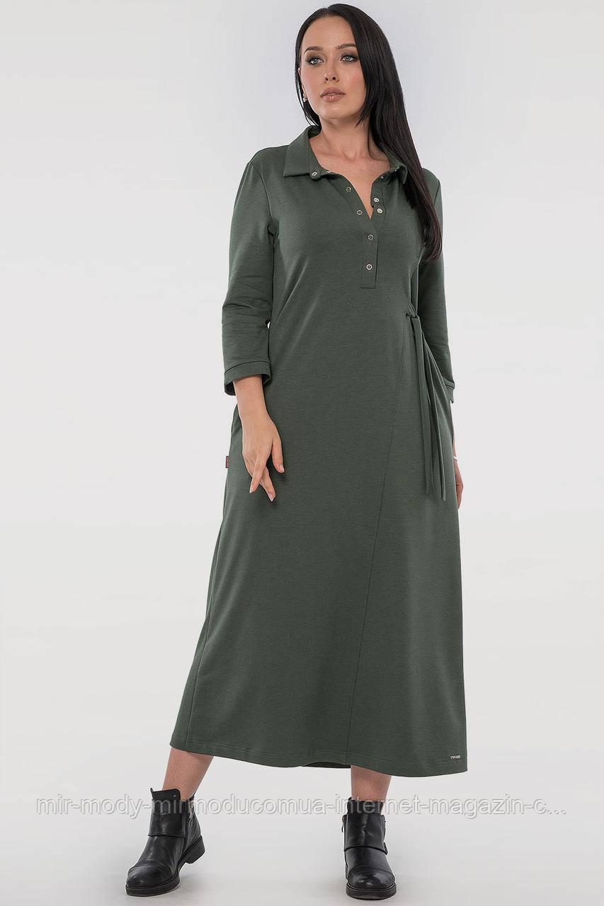 Повседневное платье рубашка хаки цвета двухнитка с 46 по 56 размер  (влн)