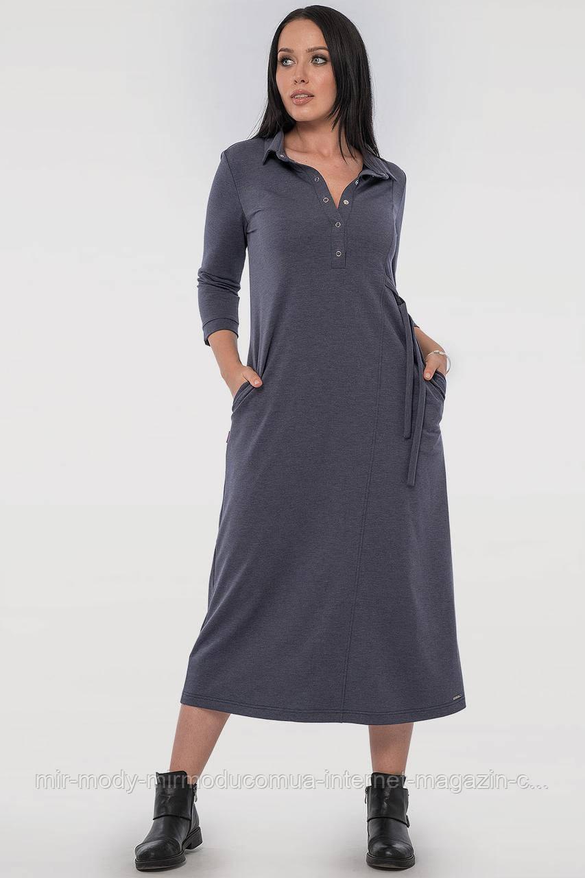 Повседневное платье рубашка джинса цвета двухнитка с 46 по 56 размер  (влн)