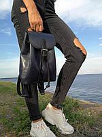 Кожаный женский рюкзак ручной работы синего цвета TsarArt с ручным швом