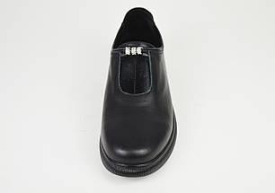 Туфли кожаные черные на плоской подошве Molly Bessa 4021, фото 3