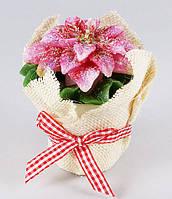 Декоративная новогодняя свеча в керамическом горшочке Рождественник 9 см BonaDi Q00-285