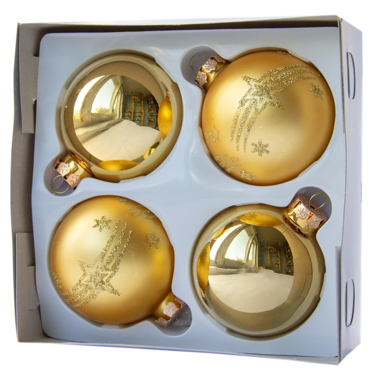 Набор елочных шаров d7*4шт, стекло, золото в звездочки с полосками (390335-28)