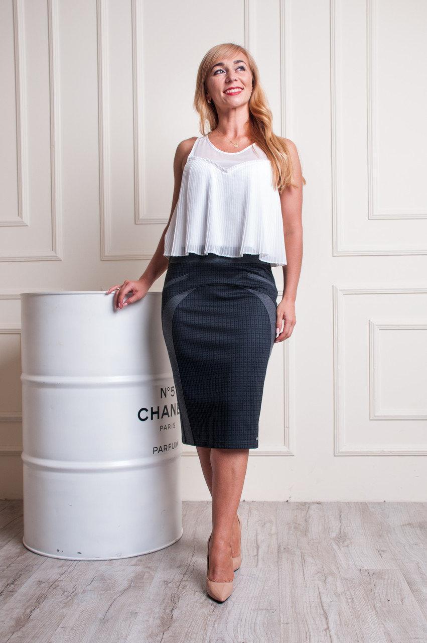 Женская трикотажная юбка серо-черного цвета пояс на резинке Эмилия