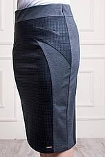 Женская трикотажная юбка серо-черного цвета пояс на резинке Эмилия, фото 2