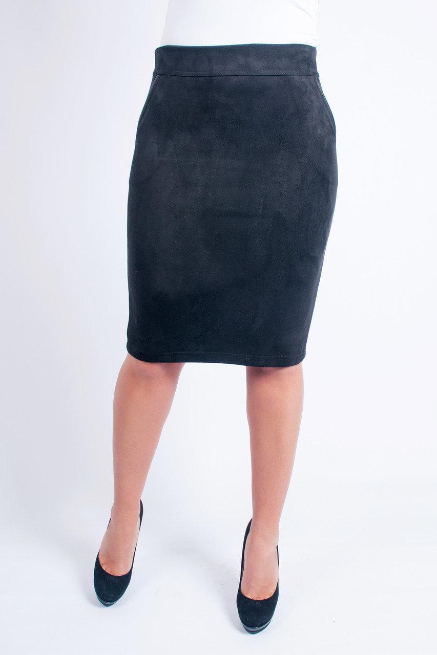 Юбка замшевая черного цвета Бритни