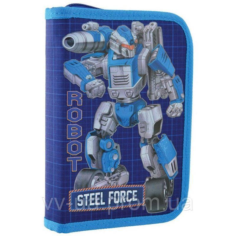 Пенал для школы твердый одинарный без клапана 1 Вересня HP-02 Steel Force (532206)