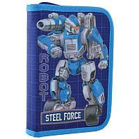 Пенал для школы твердый одинарный без клапана 1 Вересня HP-02 Steel Force (532206), фото 1
