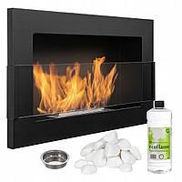 Биокамин Nice-House 650x400x120 мм со стеклом черный матовый (9033)