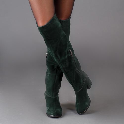 Сапоги женскиена каблуке замшевые длинные   размеры 36-41