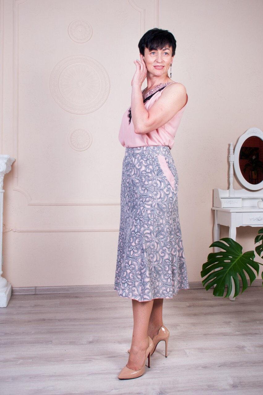 Юбка годе летняя Тая ле19  серая с розовым