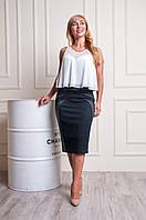Женская трикотажная юбка серо-черного цвета пояс на резинке Эмилия, фото 1