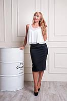 Женская трикотажная юбка черного цвета пояс на резинке Эмилия, фото 1