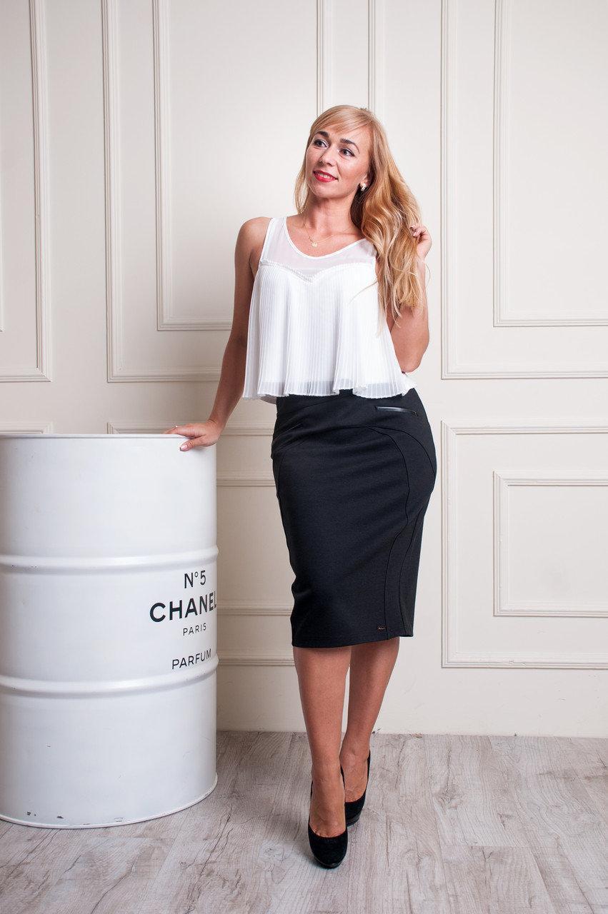 Женская трикотажная юбка черного цвета пояс на резинке Эмилия