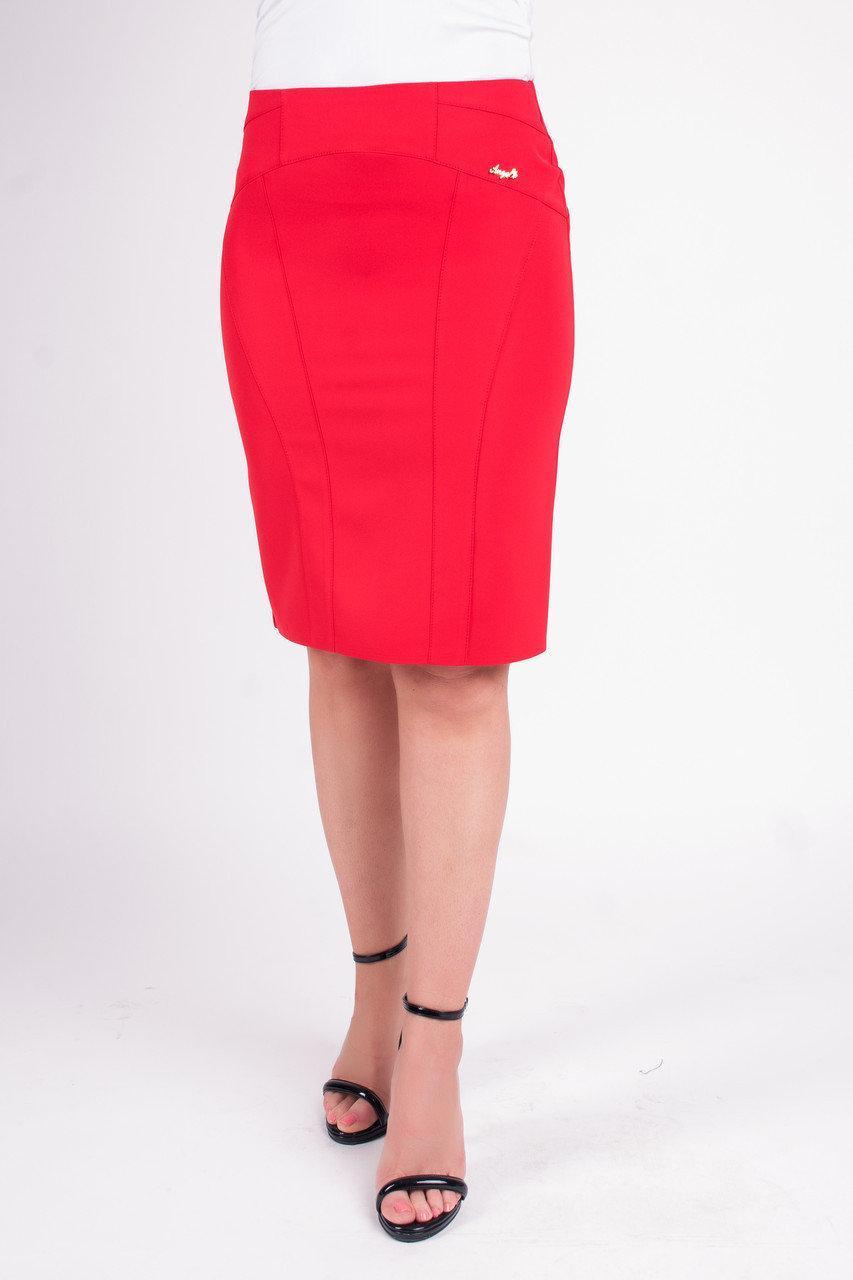 Зауженная юбка карандаш красного цвета Кейт
