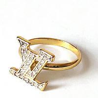 Кольцо с буквами XL, с  родиевым покрытием под золото