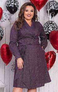"""Миди-платье на запах в горошек """"Lamina Dots"""" с карманами и длинным рукавом (большие размеры)"""