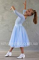 Рейтинговое платье для бальных танцев  Бейсик  Sevenstore 9140 Нежно-голубой