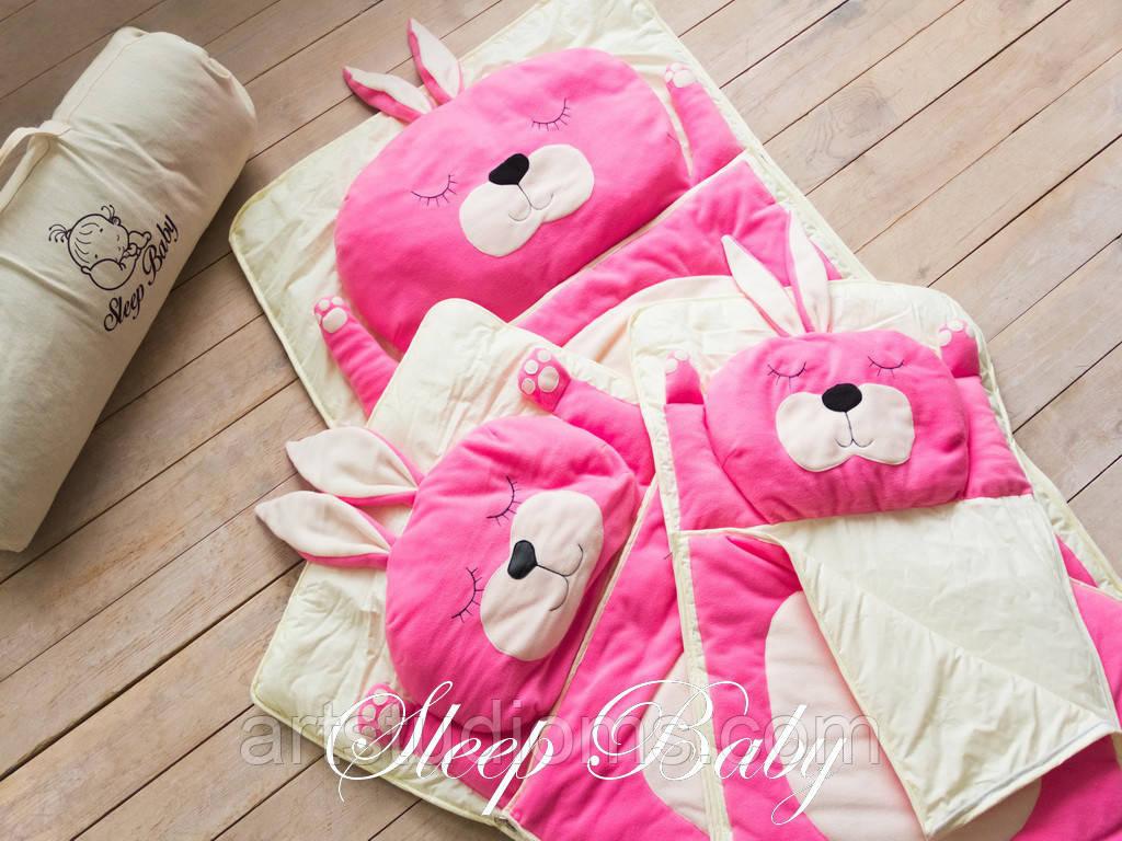 Детский комплект постельного белья Слипик зайка sleep baby, размер 120х60 см
