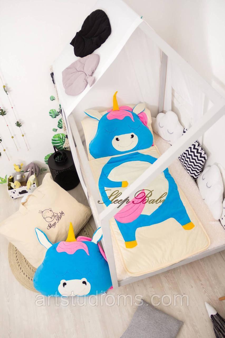 Детский комплект постельного белья Раздельный Слипик Единорог sleep baby, размер 120х60 см