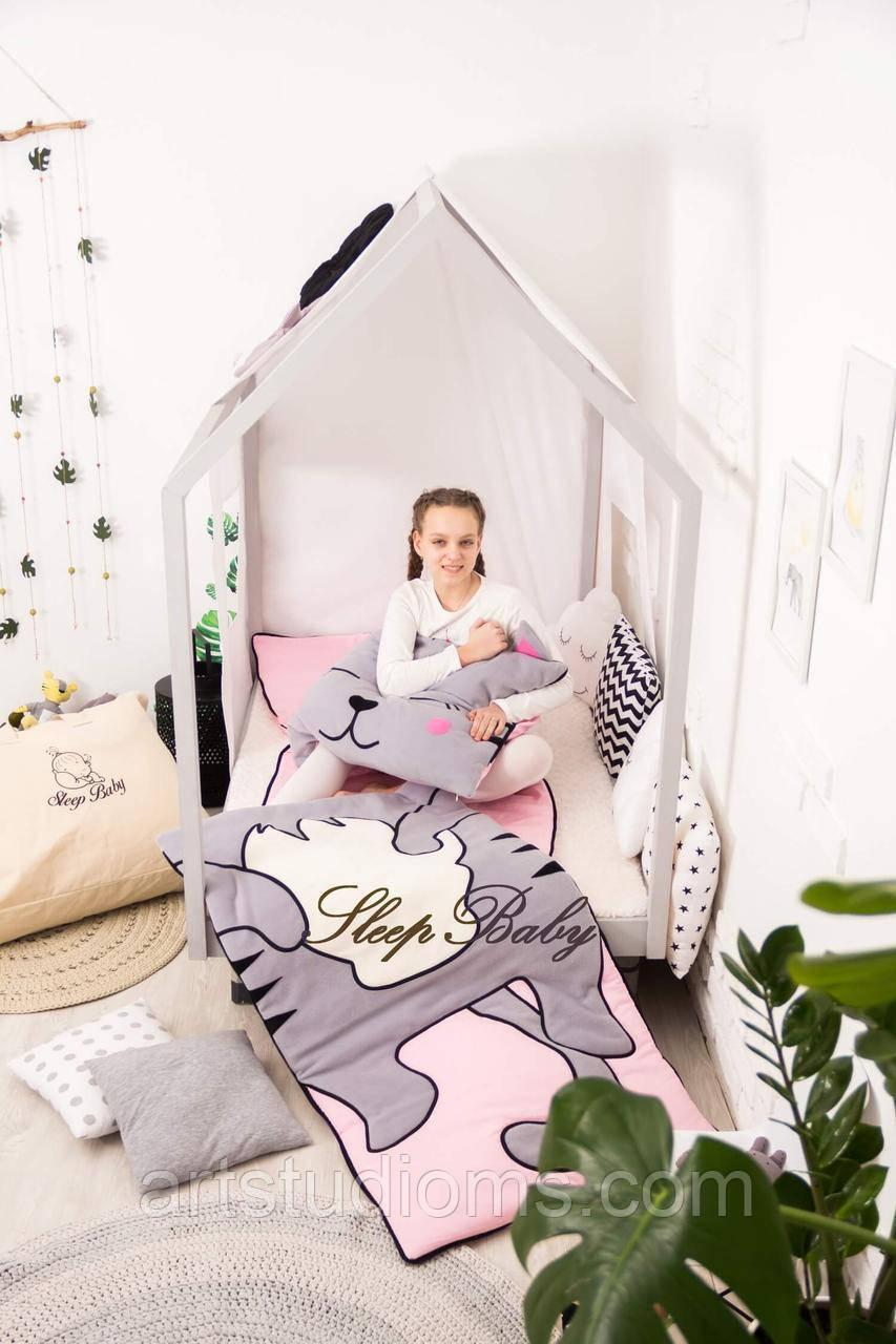 Детский комплект постельного белья Раздельный Слипик Котенок sleep baby, размер 120х60 см
