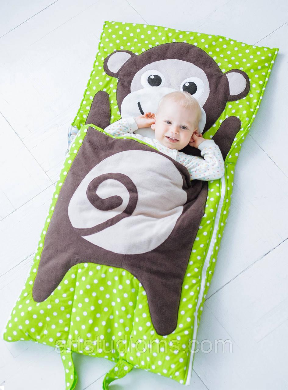 Комплект детского постельного белья слипик Обезьянка, размер S, 120х60 см, для деток до 2-2,5 лет