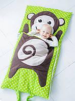 Комплект детского постельного белья слипик Обезьянка, размер S, 120х60 см, для деток до 2-2,5 лет , фото 1