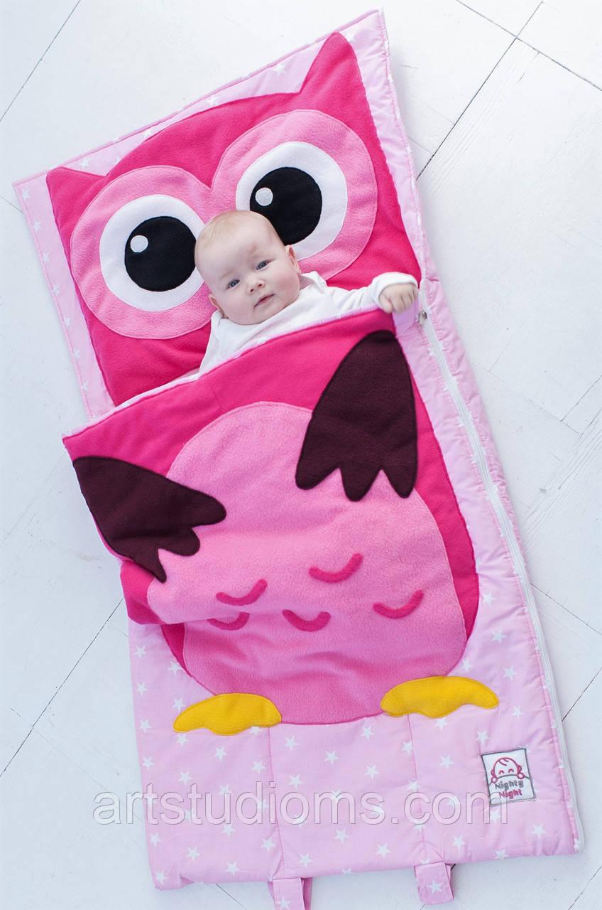 Комплект детского постельного белья слипик Розовая Совушка, размер S, 120х60 см, для деток до 2-2,5 лет
