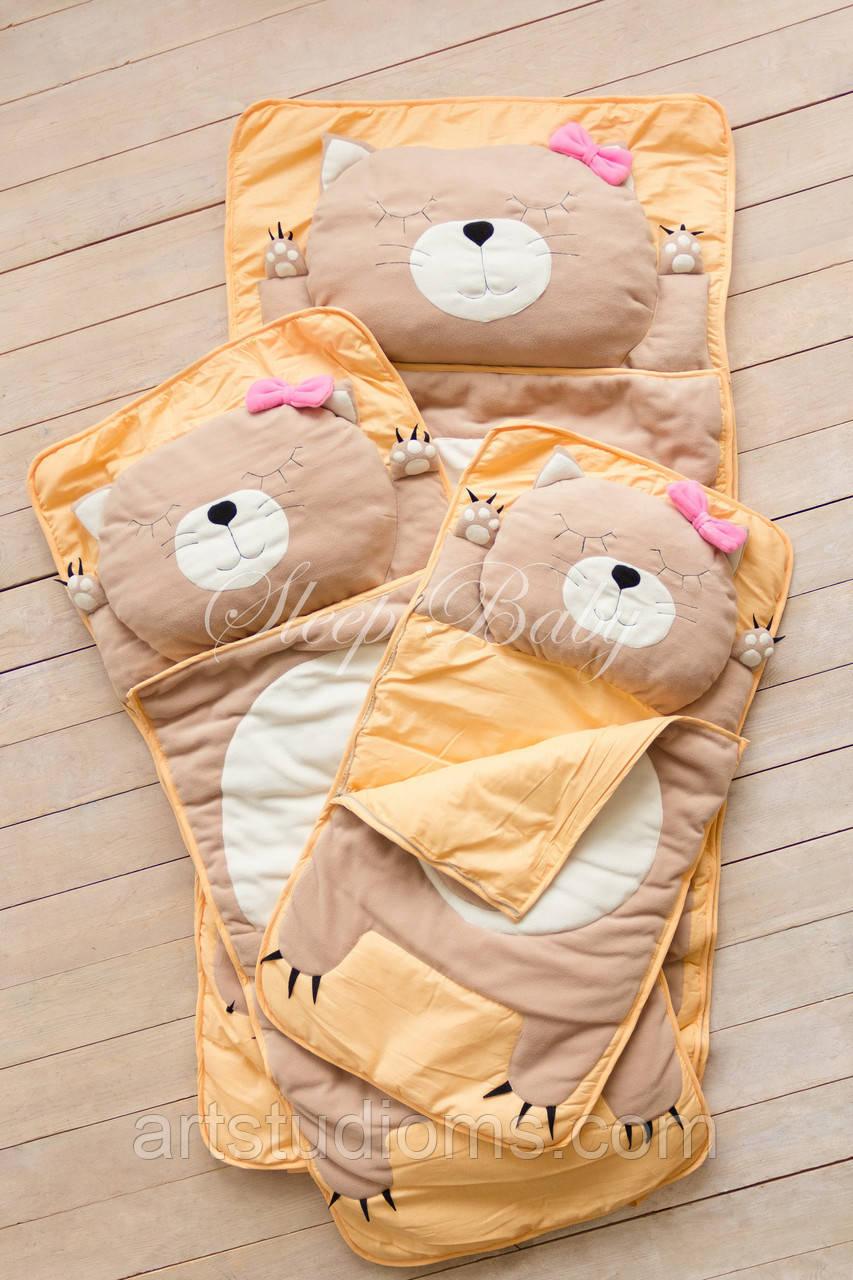 Детский комплект постельного белья Слипик котик sleep baby, размер 200х90 см