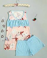 """Пижама женская хлопковая майка и шорты """"Polkan"""" розово-голубая c рисунком"""