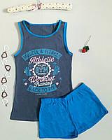"""Пижама женская хлопковая майка и шорты """"Polkan"""" синяя c рисунком"""
