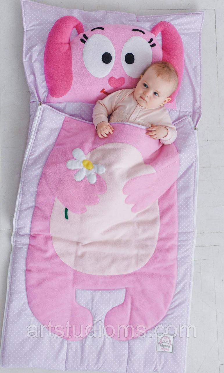 Комплект детского постельного белья слипик Розовый Зайка, размер M, 140х70 см, для деток до 4 лет