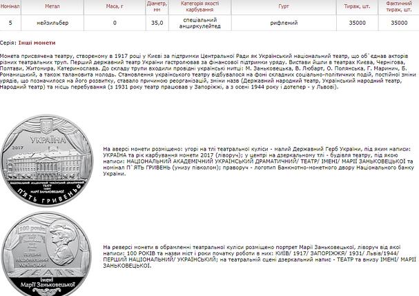 100 років Національному академічному українському драматичному театру імені Марії Заньковецьк монета 5 гривень, фото 2