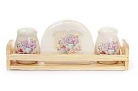 Набор для специй: солонка, перечница, салфетница на деревянной подставке Гортензия BonaDi 844-735