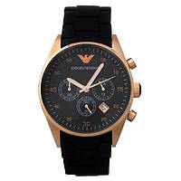 Часы Armani Silicone Chronograph 43mm Gold/Black. Реплика: AAA.