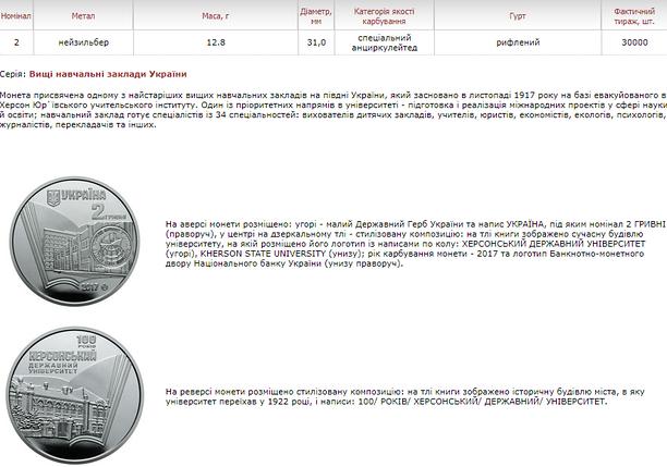 100 років Херсонському державному університету монета 2 гривні, фото 2