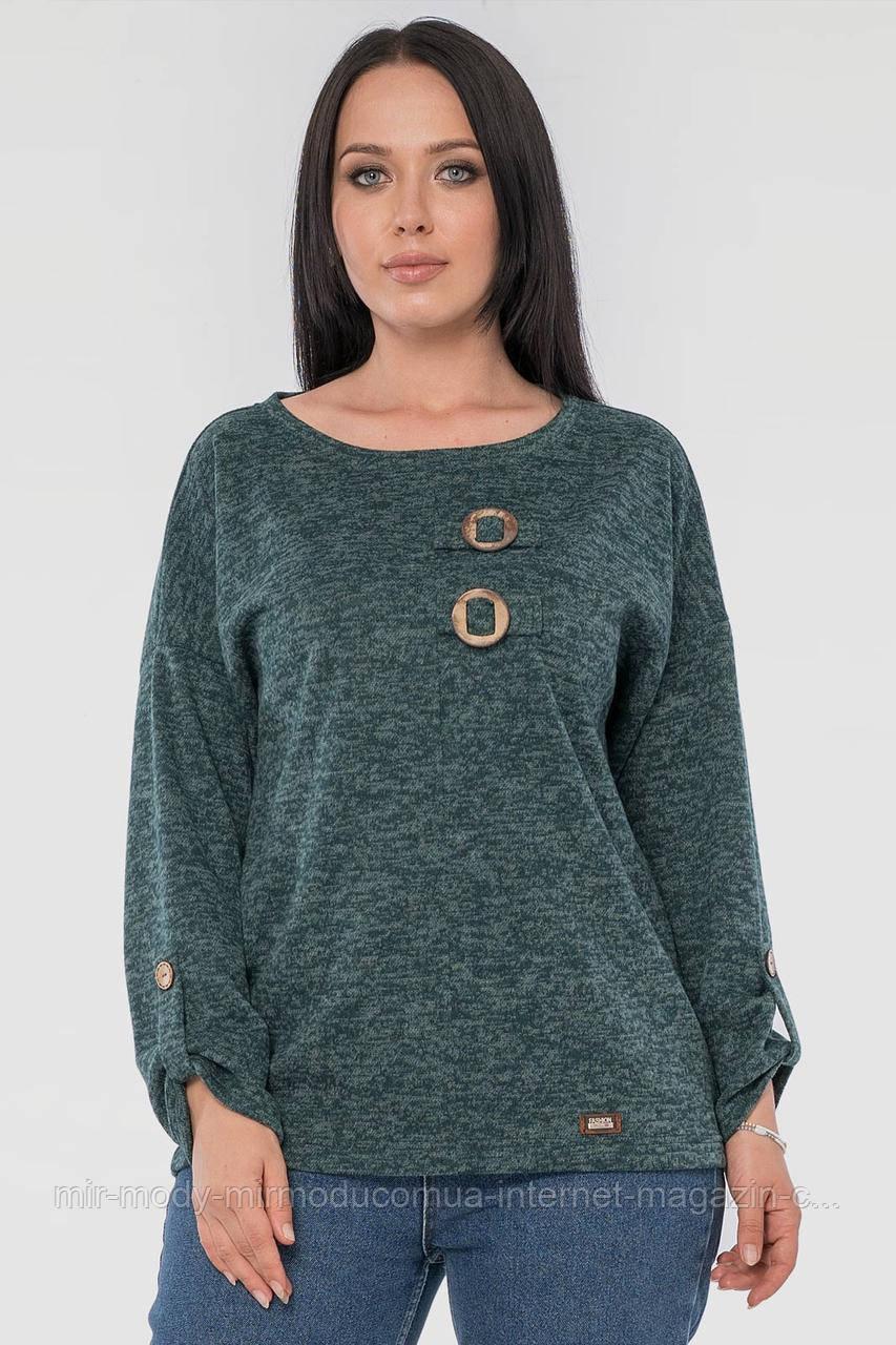Блуза зеленого цвета  ангора софтс 48 по 58 размер (wln)