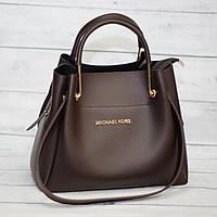 Женская сумка мини - шоппер Mісhаеl Коrs (в стиле Майкл Корс) с косметичкой, коричневая