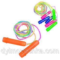 Скакалка MS 0183 265см, веревка резина, пластик.ручки, 4 цвета, 278см