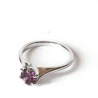 Кольцо Сиреневый цвет родиевое покрытие