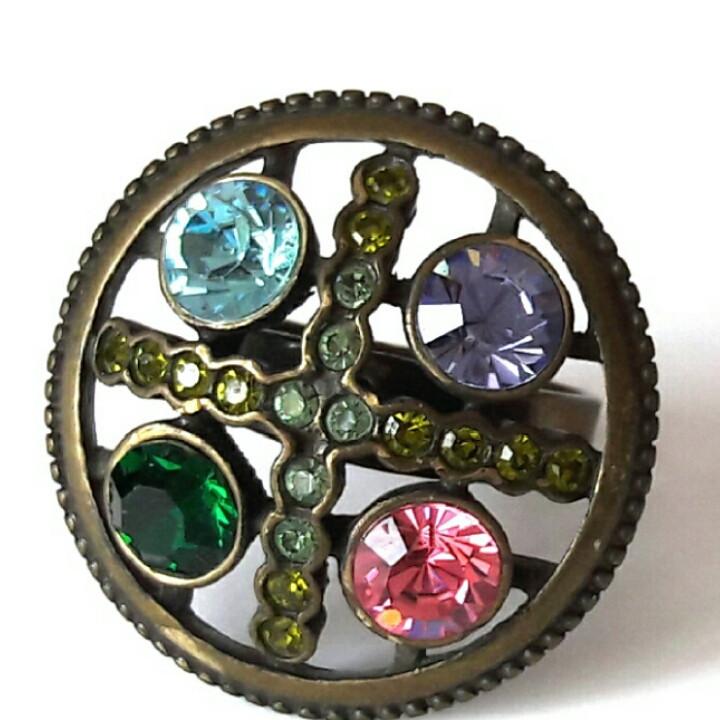 Кольцо Четыре камня безразмерное, стильное