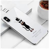 """Чехол TPU прозрачный, мягкий с изображением """"Кот"""" iPhone 5/5S/SE"""