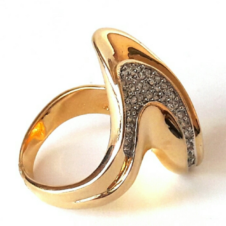 Кольцо Альфа родиевое покрытие, под золото