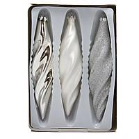 Набор елочных игрушек - закрученные сосульки, 3 шт, 16 см, серебристый, стекло (390168-1)