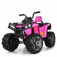 Детский квадроцикл 999 на резиновых колёсах, 4 Мотора, Пульт, розовый, детский электромобиль