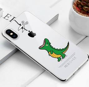 """Чехол TPU прозрачный, мягкий с изображением """"Динозаврик"""" iPhone 5/5S/SE"""