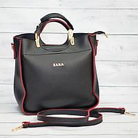 Женская сумка Zara, черная с красным ( код: IBG028BR )