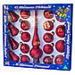 Набор елочных игрушек - шары с верхушкой, 19 шт, D5-6 см, красный, микс, стекло (390212-3), фото 2